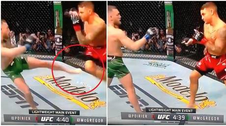 Fans focused on the moment McGregor's kick was checked by Poirier early in their UFC 264 showdown. © Twitter @TheBenEby
