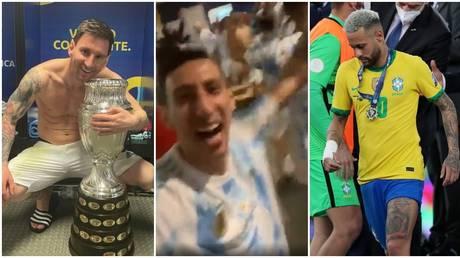 Messi and his Argentina teammates celebrated wildly. © Instagram @leomessi / @angeldimariajm / Reuters