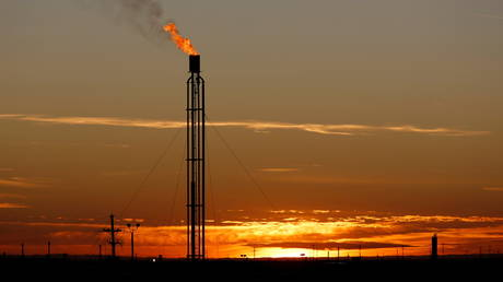 FILE PHOTO: A flare burns excess natural gas in the Permian Basin in Loving County, Texas, US