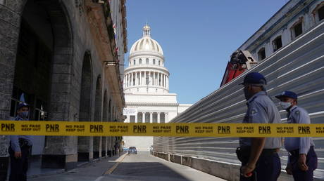 Cuban police block a road to the National Capitol Building in Havana, July 12, 2021.