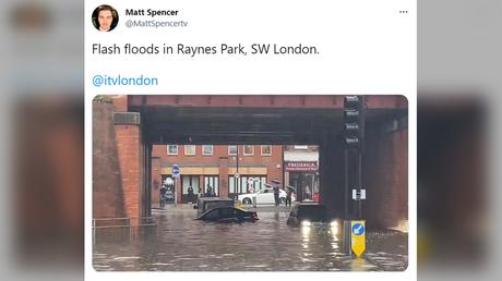 A Twitter screenshot shows flooding in London on July 12, 2021 © Twitter / @MattSpencertv