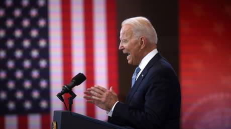 US President Joe Biden speaks at the National Constitution Center in Philadelphia, Pennsylvania, July 13, 2021.