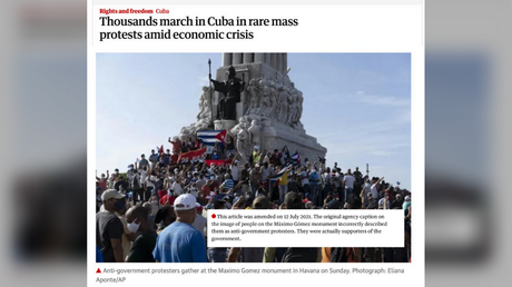 The Guardian and a number of other Western news agencies used erroneously captioned photos of a pro-government protest in Havana, Cuba, presenting it as an opposition rally instead.