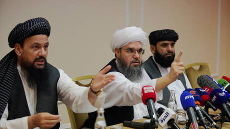 Members of Taliban political office Abdul Latif Mansoor (L), Shahabuddin Delawar (C) and Suhail Shaheen attend a news conference in Moscow, Russia July 9, 2021. © REUTERS/Tatyana Makeyeva