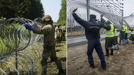 (L) Lithuanian army soldiers install razor wire on border with Belarus in Druskininkai, Lithuania. © REUTERS/Janis Laizans; (R) Employees work to build a second barrier for keeping out migrants between Hungarian-Serbian border in Hungary. © Hungarian Prime Ministry Press Office/Getty Images