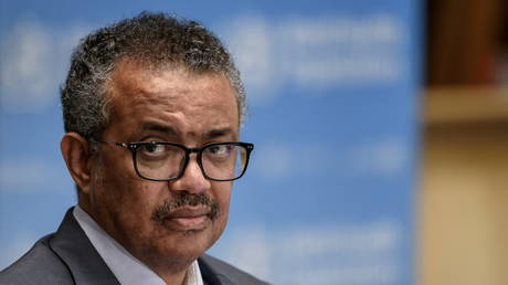 FILE PHOTO: WHO director-general Tedros Adhanom Ghebreyesus is shown at a press conference earlier this month in Geneva.