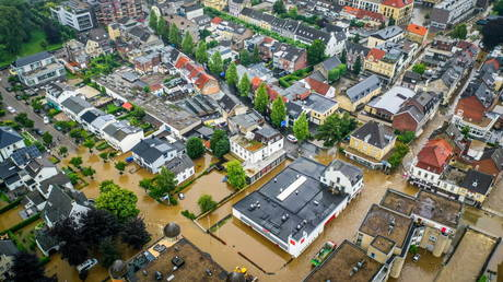 An aerial view shows the flooded streets of Valkenburg, the Netherlands, July 15, 2021.