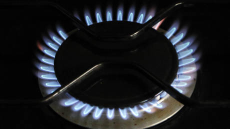 A gas burner is pictured on a cooker at a private home in Franceville-Merville, western France