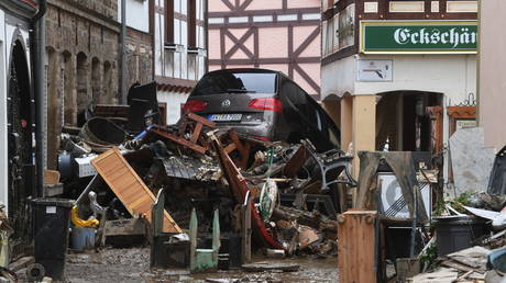 Aftermath of a flood in Bad Neuenahr-Ahrweiler, Germany, July 16, 2021. © Christof Stache/AFP