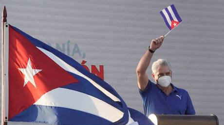 Cuba's President Miguel Diaz-Canel delivers a speech during a rally in Havana