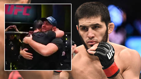 Islam Makhachev was congratulated by Khabib Nurmagomedov after his latest UFC win  © YouTube / Fight night | © Per Haljestam / USA Today Sports via Reuters