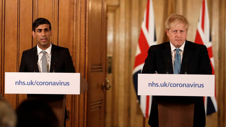 FILE PHOTO. Britain's Prime Minister Boris Johnson and Chancellor of the Exchequer Rishi Sunak speak during a news conference on the ongoing situation with the coronavirus disease (COVID-19) in London, Britain. © Reuters / Matt Dunham