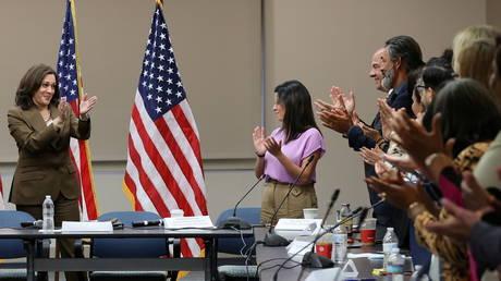 Kamala Harris meets with Democratic members of the Texas state legislature in Washington DC