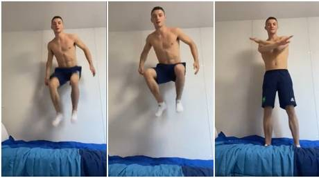 Irish gymnast Rhys McClenaghan put the bed through its paces. © Twitter @McClenaghanRhys