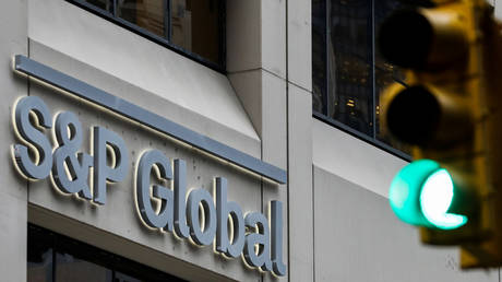 The S&P Global logo is displayed on its offices in the financial district in New York City, US.
