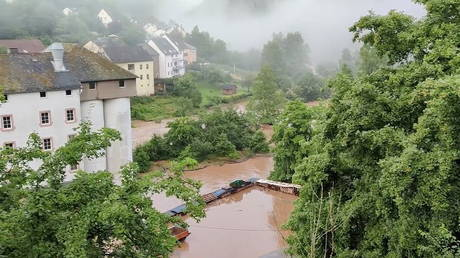 A view of a flooded area in Kyllburg, Germany July 15, 2021. © Reuters / TWITTER / @ReneNijholt