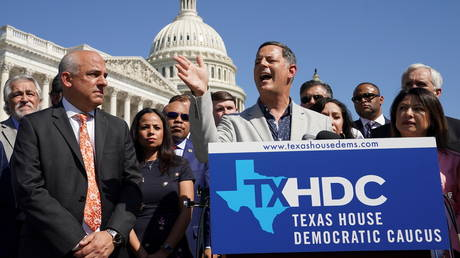 Democratic members of the Texas House of Representatives speak at the US Capitol in Washington DC