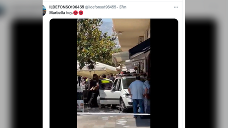 A video posted on Twitter shows the aftermath of a car plowing through sidewalk cafes in Marbella, Spain,