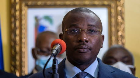 FILE PHOTO: Haiti's Interim Prime Minister Claude Joseph gives a press conference in the days following the assassination of President Jovenel Moise, in Port-au-Prince, Haiti, July 13, 2021.