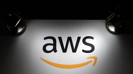 The logo of Amazon Web Services (AWS) is seen during the 4th annual America Digital Latin American Congress of Business and Technology in Santiago, Chile, September 5, 2018.