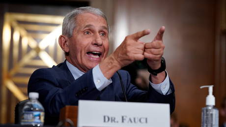 Dr. Anthony Fauci is shown gesturing while giving heated testimony on Tuesday in a Senate hearing in Washington.