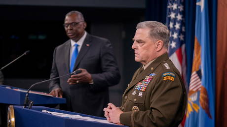 Chairman of the Joint Chiefs of Staff General Mark Milley and US Defense Secretary Lloyd Austin in Arlington, Virginia, US, July 21, 2021