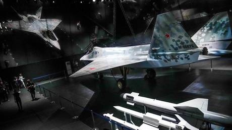 A prototype of Russia's prospective fighter jet is displayed at the MAKS-2021 International Aviation and Space Salon in Zhukovsky, Russia