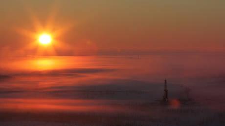 An aerial view shows Rosneft's Vankor oil field in eastern Siberia