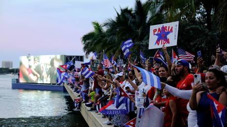 Cuba solidarity protests in Miami, Florida, US, July 17, 2021