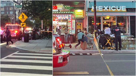 Photos captured at the scene of a shooting on a busy street in Washington, DC, July 22, 2021.
