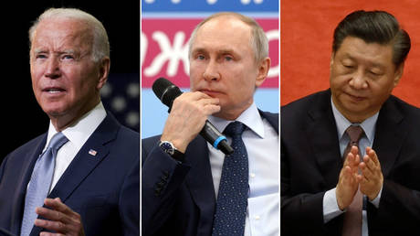 (L) © REUTERS / Evelyn Hockstein; (C) © Sputnik / Alexei Druzhinin / Kremlin via REUTERS; (R) © REUTERS / Carlos Garcia Rawlins