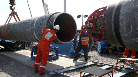 FILE PHOTO: Workers are seen at the construction site of the Nord Stream 2 gas pipeline, near the town of Kingisepp, Leningrad region, Russia