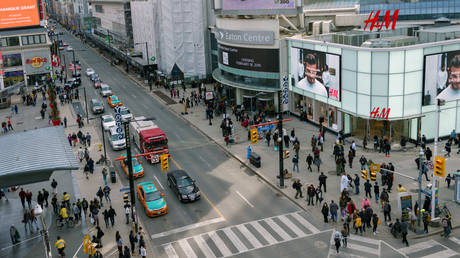 Aerial view of Dundas Square in the busiest intersection of the city: Yonge St. and Dundas St. © Roberto Machado Noa/LightRocket via Getty Images
