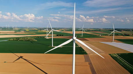 FILE PHOTO: An aerial view shows power-generating windmill turbines in a wind farm in Graincourt-les-Havrincourt, France