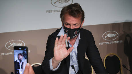 Sean Penn attends news conference for 'Flag Day' at 74th Cannes Film Festival