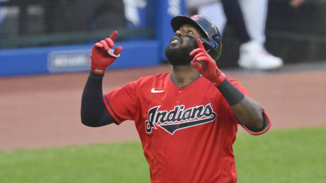 FILE PHOTO: Cleveland Indians designated hitter Franmil Reyes celebrates his three-run home run in the third inning against the Tampa Bay Rays at Progressive Field, Cleveland, Ohio © Reuters / USA TODAY Sports / David Richard