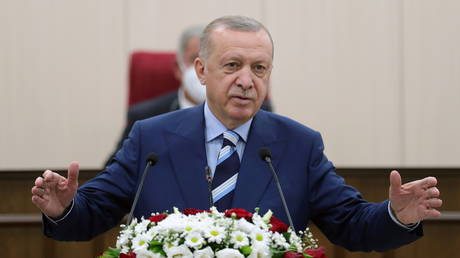 Turkish President Tayyip Erdogan addresses the members of the parliament of Turkish Republic of Northern Cyprus