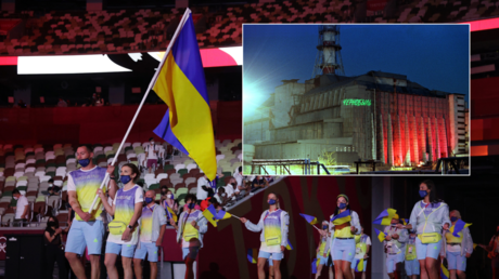 Ukrainian flag bearers lead an athletes' parade during the opening ceremony of the Tokyo Olympics, in Tokyo, Japan, July 23, 2021. Inset: the remains of the Chernobyl nuclear plant, Pripyat, Ukraine.