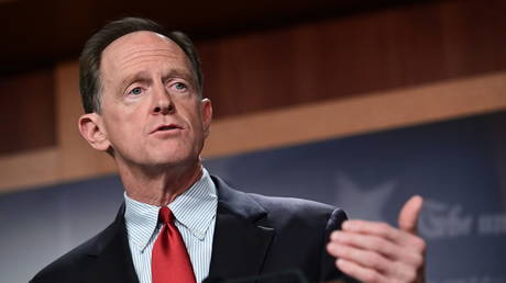 Sen. Pat Toomey (R-Pennsylvania) speaks during a news conference to introduce the Republican infrastructure plan