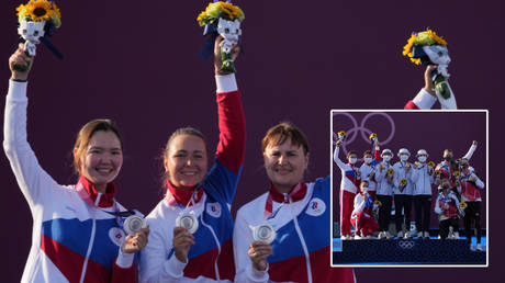 The Russian team took silver at the Tokyo Olympics 2020 archery © Kirby Lee / USA Today Sports via Reuters