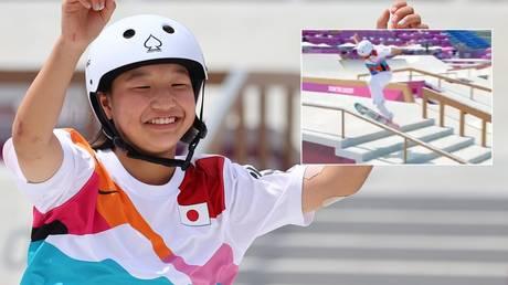 Momiji Nishiya of Japan won Olympic gold in Tokyo. © Reuters / Twitter