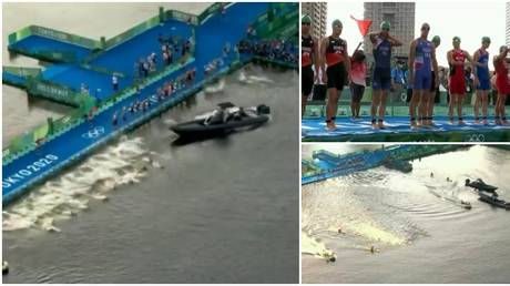 There were shambolic scenes at the start of the men's Olympic triathlon race in Tokyo. © Twitter