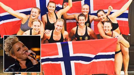 Pink (left) has backed Norway's female handball team © Mario Anzuoni  / Reuters | © Instagram / norwaybeachhandballwomen