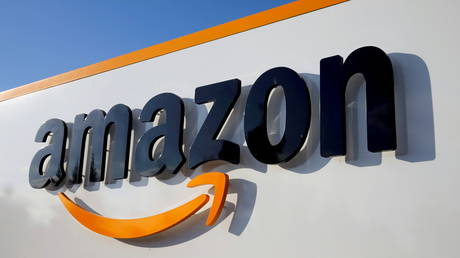 FILE PHOTO: The logo of Amazon is seen at the company logistics center.