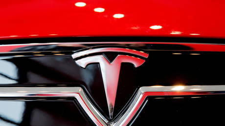 FILE PHOTO: A Tesla logo on a Model S.