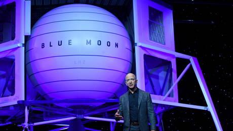 FILE PHOTO: Jeff Bezos unveils his space company Blue Origin's space exploration lunar lander rocket called Blue Moon in Washington, US, May 9, 2019.