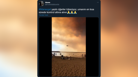 WATCH: Bathing tourists calmly look on as firefighting aircraft scoop water from the sea to tackle raging Turkish forest fires