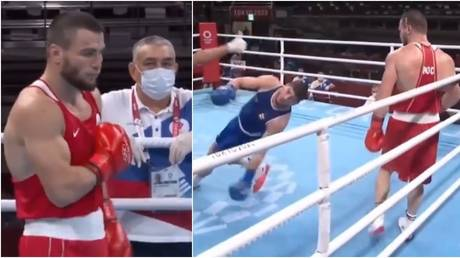 Russian boxer Imam Khataev KO'd his Olympic rival in brutal fashion. ©  Twitter