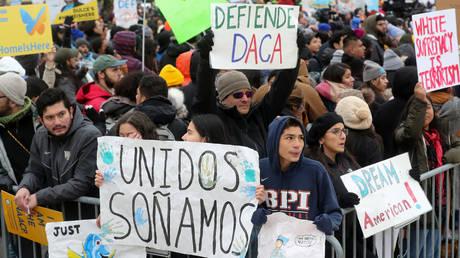 FILE PHOTO: Pro-DACA demonstrators outside the US Supreme Court, November 12, 2019.