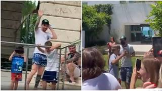 Messi delights fans by 'opening up' gate of Miami holiday home to greet them and sign autographs